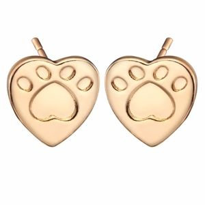 Gold Paw Foot Print Heart Stud Earrings